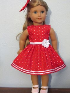 "Dress and hairbow fits 18"" American Girl doll-Red with white dots #Handmade"