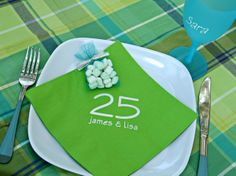 Loving these personalized napkins for 25th wedding anniversary!  www.eloquenceonline.com