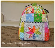 The Sewing Chick: Patchwork Rainbow Duffle Bag   xxxx