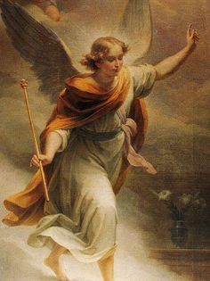 """Archangel Gabriel inspires and motivates artists and communicators, helping them to overcome fear and procrastination. Gabriel's name means """"God is my strength. Angels Among Us, Angels And Demons, Catholic Art, Religious Art, Saint Gabriel, I Believe In Angels, Angel Pictures, Angels In Heaven, Heavenly Angels"""