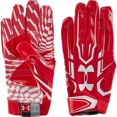Under Armour Adult F5 Receiver Gloves Red XL