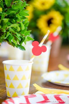 Paper Cup From A Minnie Mouse Sunflower Garden Party On Karau0027s Party Ideas  | KarasPartyIdeas.