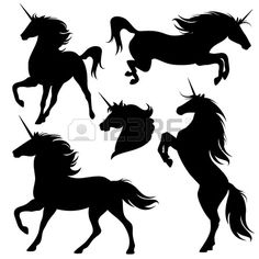 set of fine unicorn silhouettes running rearing and jumping magic horses Stock Vector