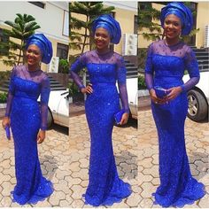 nigerian dress styles Love the color now to pick the pattern and bargain hunt lol blue dress and gele Nigerian wedding bride inspiration African Attire, African Wear, African Fashion, African Outfits, Nigerian Dress Styles, Nigerian Outfits, Nigerian Lace, Africa Dress, Lace Outfit