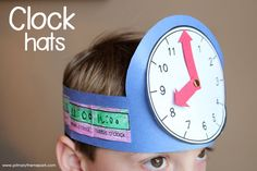 FREE clock hat templates. Great activity for those learning to tell time!