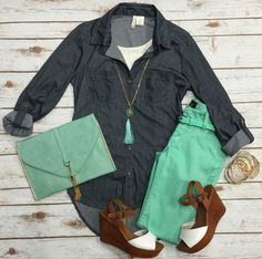 Light Weight Belted Jeggings:Mint