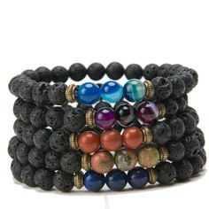 Stacking Bracelets Bracelets Sold Individually. A uniquely textured Lava stone bracelet with pops of color from banded agate and jasper. These bracelets are a wonderful addition to our other stacking