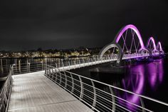 The Sölvesborg Bridge Uses Lights to Show Off its Dramatic Arch #neon #architecture trendhunter.com