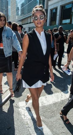 Actress Shay Mitchell is seen arriving to BCBGMAXAZRIA fashion show during Mercedes-Benz Fashion Week Spring 2015 at The Theatre at Lincoln Center on September 4, 2014 in New York City.  (Photo by Gilbert Carrasquillo/GC Images)