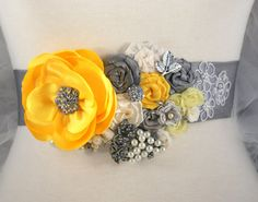 Beautiful grey and yellow bridal sash