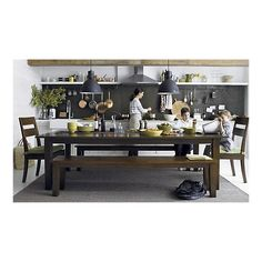 Crate and Barrel Basque dining collection (Table $1000 Chairs (5) $199/each Chair cushions (5) $40/each Bench $399) - total $2600