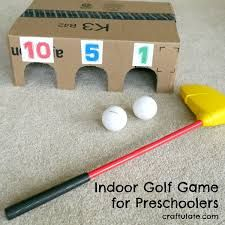 Golf Program This indoor golf game is made from a cardboard box and works on both gross motor skills and addition! - This indoor golf game is made from a cardboard box and works on both gross motor skills and addition! Preschool Games, Toddler Activities, Fun Activities, Sports Activities For Kids, Gross Motor Activities, Kids Party Games, Diy Games, Indoor Games For Kids, Golf Games For Kids