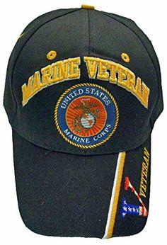 8453512f9a8 Marines Baseball Cap Black Marine Veteran V U.S. Logo Emblem Hat Buy Caps  and Hats http