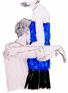 II. conhecer por dentro. Azul.grafite, giz aquarelável. por Thais Curvelo
