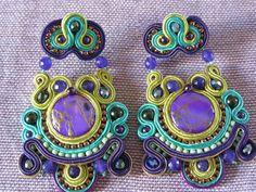 orecchini pendenti a soutache fatti a mano viola e verdi, by elesoutache, 65,00 € su misshobby.com