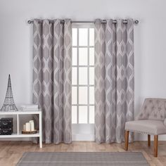 Exclusive Home Montrose Ogee Geometric Textured Linen Jacquard Grommet Top Window Curtain Panel Pair Ash Grey Gray