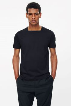 Square-Neck cotton t-shirt latest clothes for men, mens fashion, fashion Indian Men Fashion, Mens Fashion Suits, Fashion Outfits, Fashion Fashion, Stylish Mens Outfits, Casual Winter Outfits, Men Casual, Latest Clothes For Men, Couture