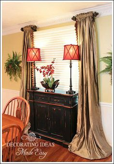 Dining Room Decorating Ideas to Create an Inviting Room for Friends and Family! Dining room decorating ideas from furniture, window treatments, table centerpiece ideas, wall decor and more! Window Coverings, Window Treatments, Window Valances, Window Panels, Casa Magnolia, Dining Room Windows, Interior Decorating, Interior Design, Decorating Ideas