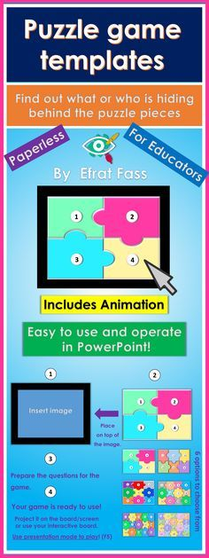 The puzzle game templates were designed especially for teachers and suitable for all ages. The templates are simple to use, operate, creating interest and engaging in the classroom. The aim of the game is to find out what or who is hiding behind the pieces of the puzzle with guiding questions. Educational Games, Educational Technology, Puzzel Games, Puzzle Board Games, Board Game Template, Powerpoint Games, Teaching Kindergarten, Teaching Resources, Board Game Design
