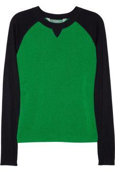 Reed Krakoff|Contrast-sleeve merino wool and silk sweater|NET-A-PORTER.COM