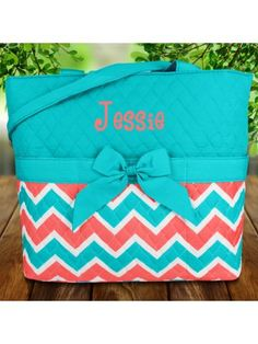 Coral and Aqua Chevron Quilted Diaper Bag with Turquoise Trim #shopewam #diaperbag