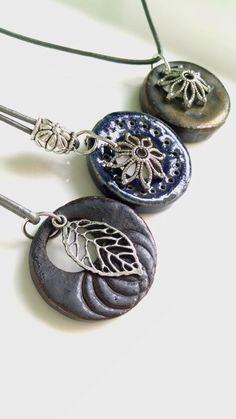 Unique Stoneware Pendant Ceramic imprinted by AliciaGleasonPottery