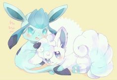 Extremely Cute Glaceon and Alolan Vulpix Alolan Vulpix, Eevee Evolutions, Pokemon Fan Art, Pokemon Sun, Pokemon Eevee, Cute Pokemon Pictures, Cute Pictures, Pokemon Painting, Wolf Spirit Animal