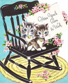 Vintage GET WELL Card Features Two Kittens by ilovevintagestuff