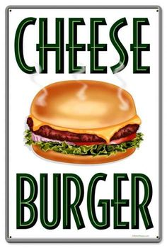 Retro Cheese Burger Tin Sign LARGE