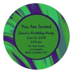Round Party Invitations Green Blue Modern #zazzle #invitations #party #personalized