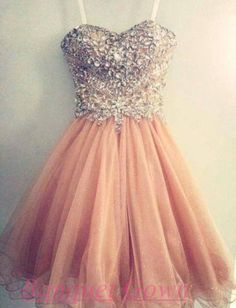2016 New Crystals Homecoming Dresses Sweetheart Tulle Blush Pink Luxury Graduation Cocktail Dress Short Prom Gowns