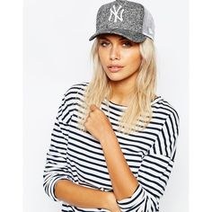 New Era Flecked Trucker NY Cap (38 CAD) ❤ liked on Polyvore featuring accessories, hats, blackopticwhite, new era hats, crown cap, 5-panel hat, new era cap and dome cap