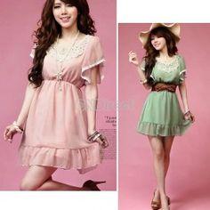$9.00 New Korean Fashion Womens Elegant Laciness Short Sleeve Sweet Chiffon Mini Dress