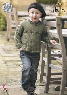 lovely classic, simple yet gorgeous knitted jumper for babies and children in a chunky yarn. A great quick knit for the winter. Free Chunky Knitting Patterns, Jumper Knitting Pattern, Jumper Patterns, Knitting For Kids, Baby Knitting, Knitted Baby, Crochet Baby, Knit Crochet, Knit Baby Sweaters