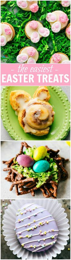 4 Simple Easter Treats that require little effort and time and few ingredients -- Bunny Bum Cookies, Easter Bunny Cinnamon Rolls, Easter Egg Nests, and Mini Egg Petit Fours.