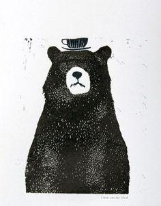 "Liekeland – Linocut Print ""Bear with Tea Cup"" | Beetles and Bugs"