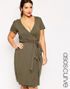 In BLACK ! ASOS CURVE Wrap Dress With Bow Front In Longer Length