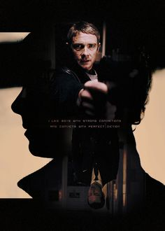 Someone (not me) is very creative.  This is a striking poster.  John Watson in the foreground, Sherlock in shadow, and Moriarty upside down.