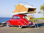 1964 Volkwagen Beetle Red With Topper Tent    How sweet is this!