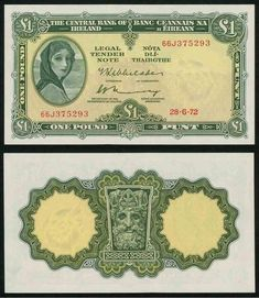 1972 Central Bank of Ireland One Pound Banknote Hazel Lavery Image Pick Number Beautiful Crisp Uncirculated Irish Mythical Creatures, Bank Account Balance, Ireland Pictures, Money Notes, One Pound, Central Bank, Military Women, Rare Coins, The Republic