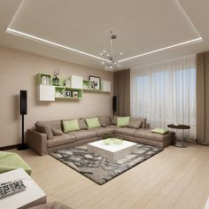 Светлая и современная гостиная для молодой и активной семьи. Дизайн-проект студии интерьеров Татьяны Зайцевой.