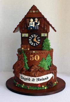 German Themed Cuckoo Clock Cake ~ 50th Wedding Anniversary by http://www.veryuniquecakes.com