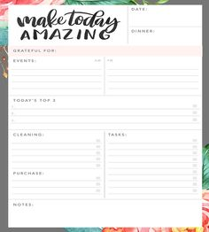Make Today Amazing Daily Planner Notepad by Jenny Highsmith Lettering on Scoutmob