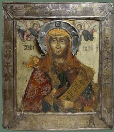 "Старинная Икона в окладе ""Св. Параскева Пятница"" Середина XVIIIв., рис.1"