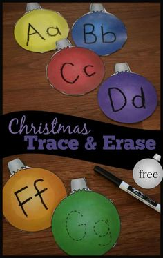 FREE Alphabet Ornaments Trace & Erase - kids will have fun practicing writing uppercase and lowercase alphabet letters with this super cute and reusable December theme writing letters activity perfect for toddler, preschool, and kindergarten age kids. Free Preschool, Preschool Themes, Preschool Kindergarten, Preschool Activities, Toddler Preschool, Kindergarten Quotes, Toddler Daycare, Kindergarten Christmas, Kindergarten Worksheets