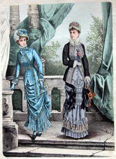 the clothes horse, fashion plates, vintage fashion, antique fashion, hungarian fashion, 1870s dresses
