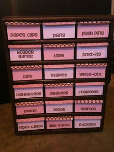 Classroom organization 101| cute paper labeled taped on the inside and separate into the drawers
