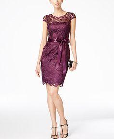 Adrianna Papell Lace Cap-Sleeve Illusion Sheath Dress - Women's Brands - Women - Macy's