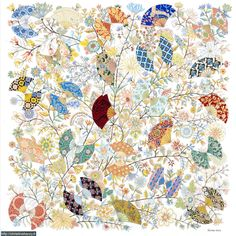 Hermès - Fleurs et Papillons de Tissus by Christine Henry - This scarf is inspired by some fabrics exposed to the Museum of Fabrics and of the Decorative Arts of Lyon.