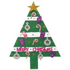 Nicole™ Crafts Foam Glitter Tree Magnet #christmas #kids #crafts #acmoore